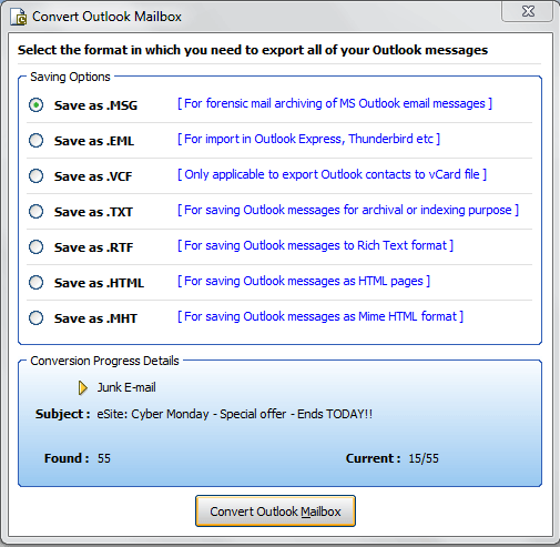 Show Options to Convert Outlook PST data